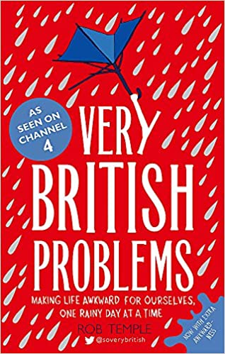 A red, blue and white book cover