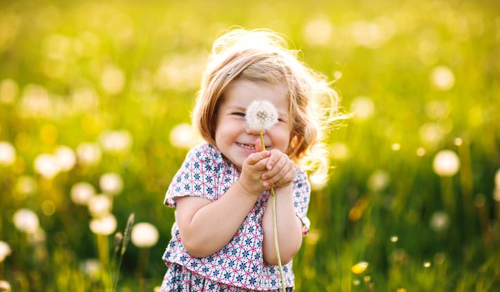 Child holding a dandelion